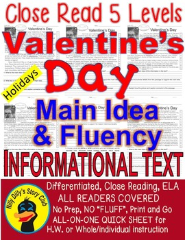 Valentine's Day FACTS 5 Levels Differentiated Close Read Main Idea & Fluency
