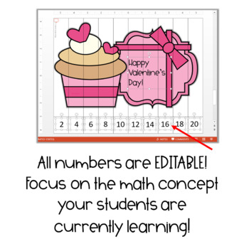 Valentine's Day FREEBIE! Editable Count By Puzzles