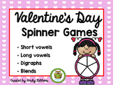 Literacy Games: Valentine's Day | FREEBIE Activity Spinner Games for Vowels