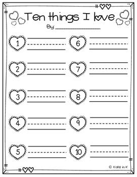"Valentine's Day FREEBIE! ""Ten things I love"" Writing activity"