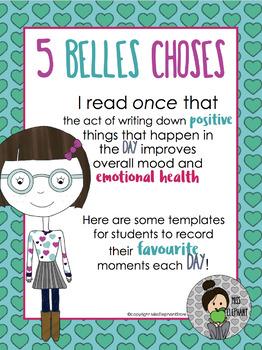 Kindness FRENCH 5 Belles Choses Mindfulness Activity  Saint-Valentin