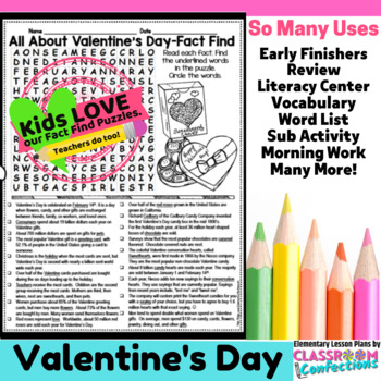 Valentine's Day Reading Activity: Valentine's Day Word Search
