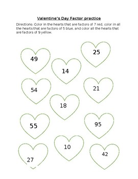 Valentine's Day Factor Coloring