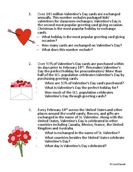 Valentine's Day Listening Comprehension, Short Term Recall and WH Questions