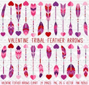 Valentine's Day Feather Arrows Clipart Clip Art Vectors