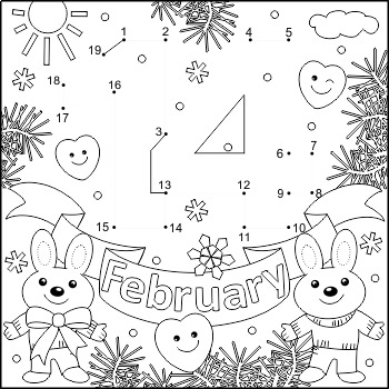 Valentine's Day February 14 Connect the Dots and Coloring Page, CU