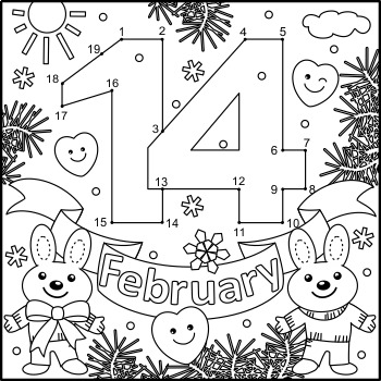 Valentine's Day February 14 Connect the Dots and Coloring Page, Non-CU