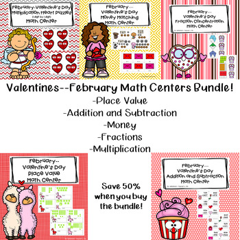 Valentine's Day--February Math Centers Bundle