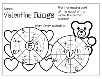 Valentine's Day February Math for 1st Grade - NO PREP Packet