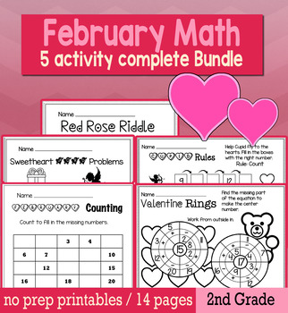 Valentine's Day February Math for 2nd Grade - NO PREP Packet
