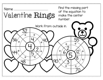 Valentine's Day February Math for 3rd Grade - NO PREP Packet