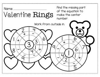 Valentine's Day February Math for Kindergarten - NO PREP Packet
