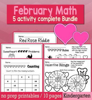 Valentine's Day February Math for Kindergarten - NO PREP Packet