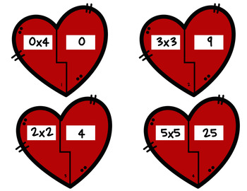 Valentine's Day/February Multiplication puzzles-Math Center