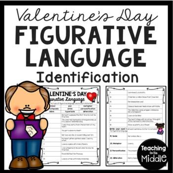 Valentine's Day Figurative Language Identification Worksheet; February