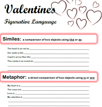 Valentine's Day Figurative Language Practice and Popular Love Songs