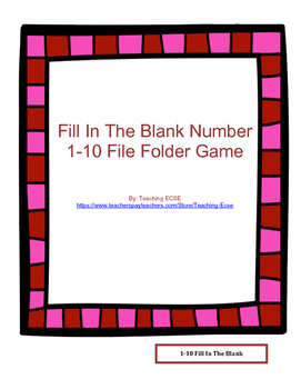 Valentine's Day File Folder: 1-10/11-20 fill in the blank