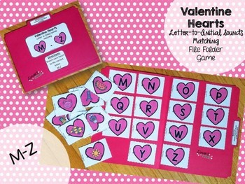 Valentine's Day File Folder Game: Letter to Initial Sound Matching M-Z