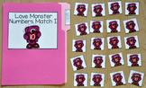 Valentine's Day File Folder Game:  Little Love Monster's Number Match