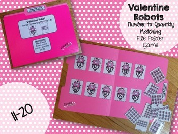 Valentine's Day File Folder Game: Number to Quantity 11-20