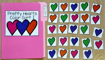 Valentine's Day File Folder Game:  Pretty Hearts Colors Sort I