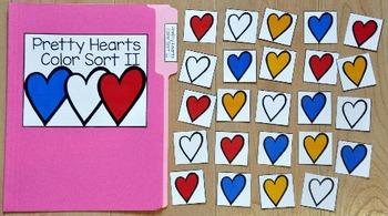 Valentine's Day File Folder Game:  Pretty Hearts Colors Sort II
