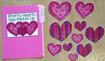 Valentine's Day File Folder Game: Pretty Hearts Size Match Up