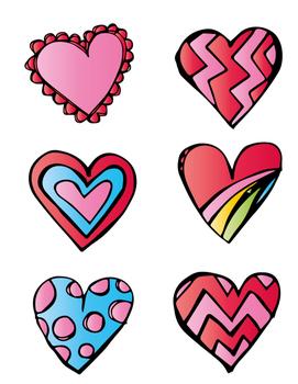 Valentine's Day File Folder: Patterned Heart Matching