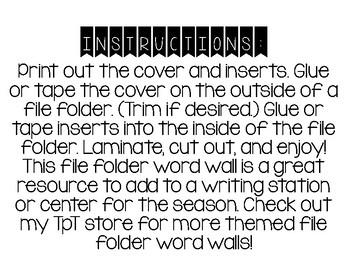 Valentine's Day File Folder Word Wall