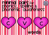 Valentine's Day Fill in the Blank CVC Words for Phonics an