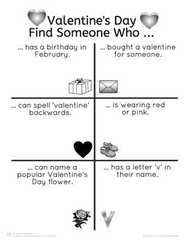 Valentine's Day Find Someone Who Activity