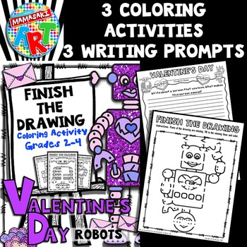 Valentine's Day Finish The Drawing Coloring Activity