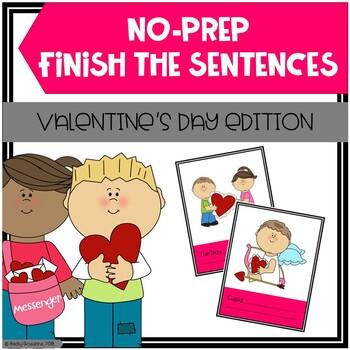 Valentine's Day Finish The Sentences No-Prep Activity