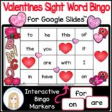 Valentine's Day First 25 Sight Words Interactive Bingo Gam
