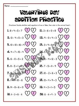 Valentine's Day First Grade Math Packet