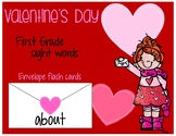 Valentine's Day First Grade Sight Words Flash Cards