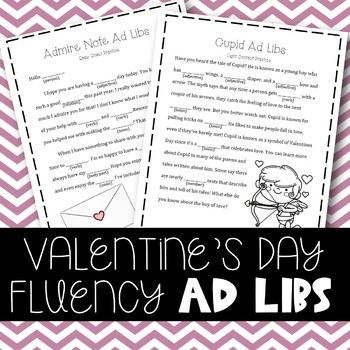 Valentine's Day Fluency Enhancing Ad Libs (Stuttering Therapy)