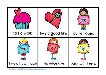 Valentine's Day Fluency Phrases Race