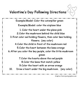 Valentine's Day Following Directions