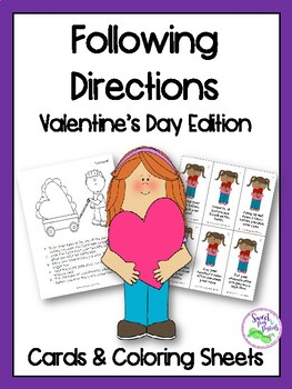 Valentine's Day Following Directions Cards & Coloring Sheets