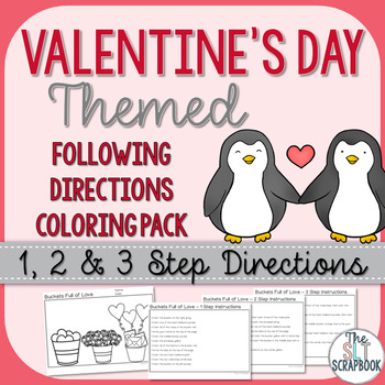 Valentine's Day Following Directions Coloring Pack- 1, 2 and 3 step instructions