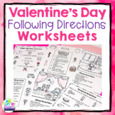 Valentine's Day Following Directions Worksheets - Speech Therapy Activity