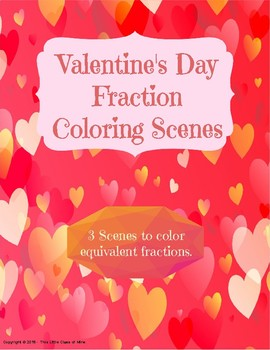 Valentine's Day Fraction Coloring Scenes
