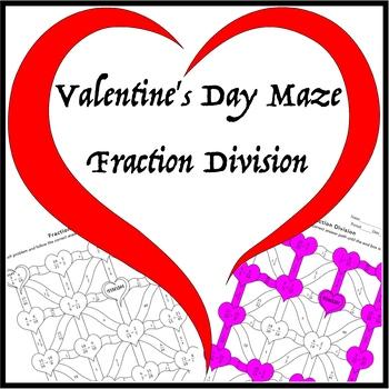 Valentine's Day Fraction Division Maze
