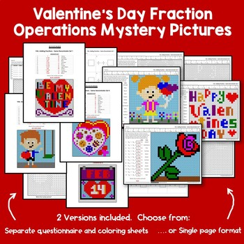 February Coloring Math Challenges Valentine Fraction Activities Mystery Pictures