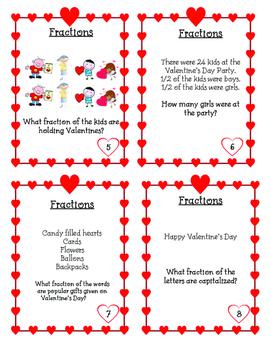 Valentine's Day Fraction Task Cards