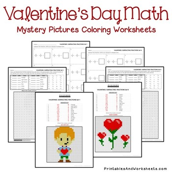 Valentine's Day Fractions Coloring, Valentine's Fractions Mystery Pictures