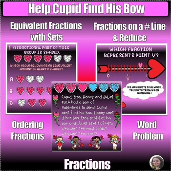 Valentine's Day Fractions Digital Escape Room: Help Cupid Find His Bow