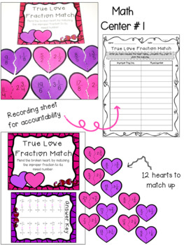 Valentine's Day Fractions Math Centers and Activities