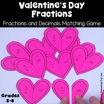 Valentine's Day Fractions and Decimals